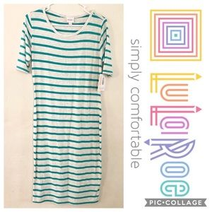 LuLaRoe Julia Striped Knee Length Dress NWT Large